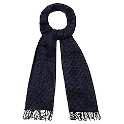 The Collection - Navy pleated scarf