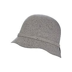 The Collection - Grey pure wool bow detailed cloche hat