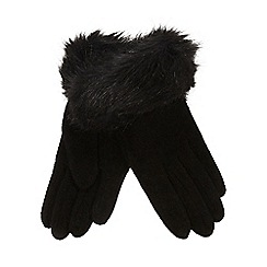 The Collection - Black faux fur edge gloves
