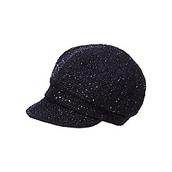 The Collection - Navy tweed sparkle baker boy hat