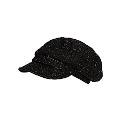The Collection - Black tweed baker boy hat