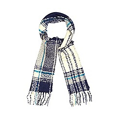The Collection - Navy boucle checked scarf