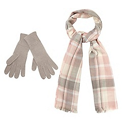 The Collection - Pink checked scarf and gloves set