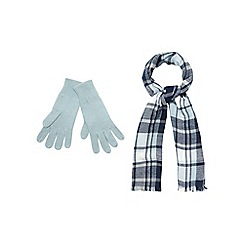The Collection - Blue checked scarf and gloves set