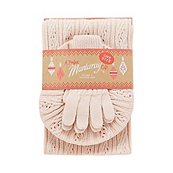 Mantaray - Light pink cable knit hat, scarf and gloves set