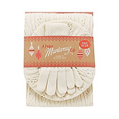Mantaray - Cream cable knit hat, scarf and gloves set