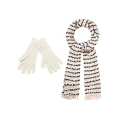The Collection - Pink knitted scarf and gloves set