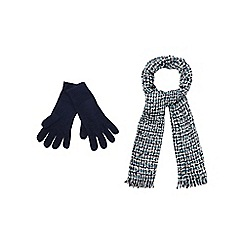 The Collection - Navy knitted scarf and gloves set