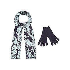 The Collection - Navy floral print scarf and gloves set