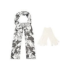 The Collection - Grey floral print scarf and gloves set