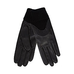 RJR.John Rocha - Black leather knitted gloves