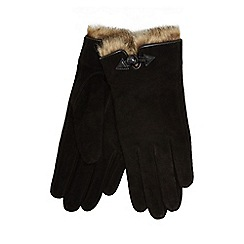 RJR.John Rocha - Black faux fur trim suede gloves