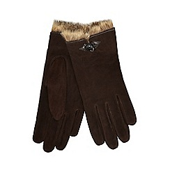 RJR.John Rocha - Dark brown faux fur trim suede gloves