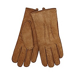 RJR.John Rocha - Tan embossed line suede gloves