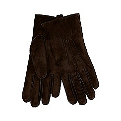 RJR.John Rocha - Dark brown embossed line suede gloves