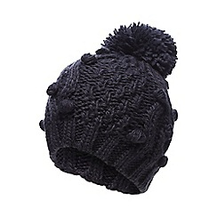 RJR.John Rocha - Navy bobble cable knit beanie hat