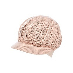RJR.John Rocha - Light pink cable knit baker boy cap with wool