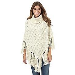 RJR.John Rocha - Cream cable knit roll neck poncho