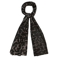 Nine by Savannah Miller - Grey leopard print scarf with wool