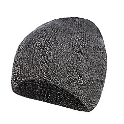 Nine by Savannah Miller - Dark grey knitted metallic beanie hat with mohair