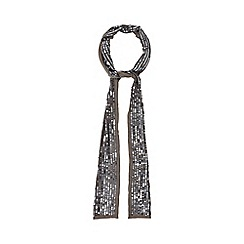 Nine by Savannah Miller - Grey slim sequin embellished scarf