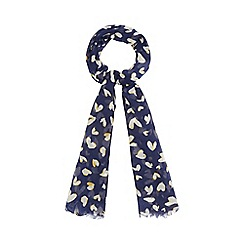 Red Herring - Navy heart print scarf