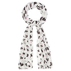 Red Herring - Off white heart print scarf