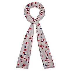 Red Herring - Grey split spot print scarf