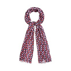 Red Herring - Navy and pink strawberry print scarf