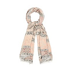 Red Herring - Pink Aztec embroidered scarf