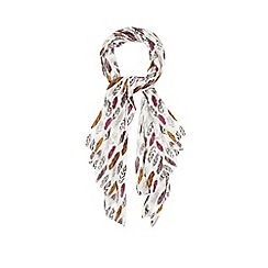 Red Herring - Multi-coloured feather print scarf