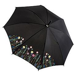 Isotoner - Black floral walking umbrella