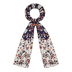 Red Herring - Navy and white floral print scarf