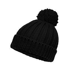 Red Herring - Black oversized pom beanie hat