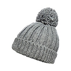 Red Herring - Grey oversized pom beanie hat