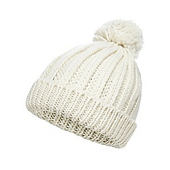 Red Herring - White oversized pom beanie hat