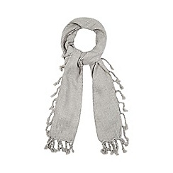 Red Herring - Grey tasselled trim woven scarf