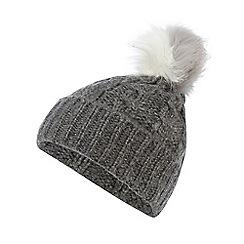 Red Herring - Grey faux fur pom pom beanie hat