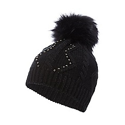Star by Julien Macdonald - Black knitted bead detail hat