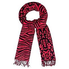 Star by Julien Macdonald - Pink leopard and stripe pattern scarf