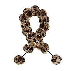 Star by Julien Macdonald - Brown leopard print pom pom scarf
