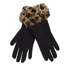 Star by Julien Macdonald - Black leopard print faux fur trim gloves