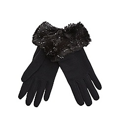 Star by Julien Macdonald - Black sparkle fur gloves