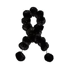 Star by Julien Macdonald - Black sparkle pom pom scarf