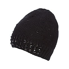 Star by Julien Macdonald - Black sequin cable beanie hat