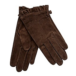 Rocha.John Rocha - Brown punched suede gloves