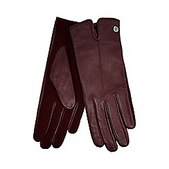 J by Jasper Conran - Dark red knitted palm leather gloves with wool