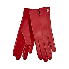 J by Jasper Conran - Red knitted palm leather gloves with wool