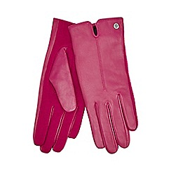 J by Jasper Conran - Dark pink knitted palm leather gloves with wool