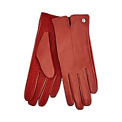 J by Jasper Conran - Orange knitted palm leather gloves with wool